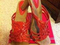 Crimson dark/natural wood heel  $25  size 9.5