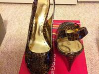 Bcbgirls brown sugar/leopard patent slingback pump.