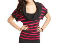 Bright stripes and an oversized cowl neck make this