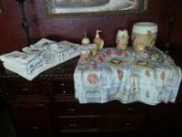 Towel sets, Shower curtain, hooks, toilet brush holder,