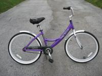 "teens/small adult beach bike. purple 15"" Aluminum"