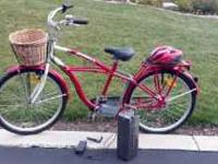 Great red beach cruiser style bike w battery assist!
