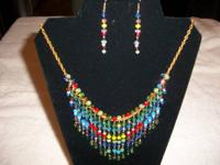 HANDMADE NECKLACE AND MATCHING EARRINGS ALL MADE IN THE