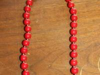 Red, beaded necklace; worn twice-like new