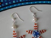 Adorable beaded starfish using red, white and blue