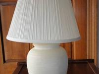 Luscious white color bean pot lamp, works fine. Shade