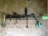 """For sale is a bear lights out compound bow, 29"""" draw,"""