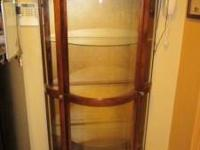 "Maple Lighted Curio Cabinet.. 3 glass shelves. 70"" high"
