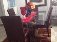 Glass dining room set with 4 chairs and 2 stools with