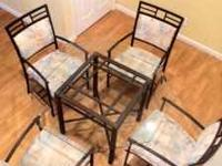 Steel Minson Glass Table and 4 Chairs. Bought the table