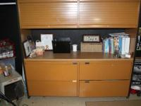 Beautiful, Huge Metal File Cabinet with Wood middle