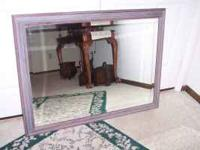 Beautiful 40 x 30 inch beveled mirror with grey and