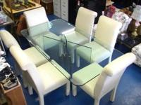 Beautiful All Glass Dining Table... with 6 All Leather
