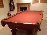 Exceptional American Heritage Pool Table w/Accessories.