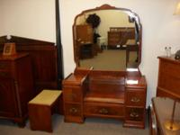 Beautiful antique Art Deco waterfall vanity with large