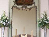 A beautiful antique French Trumeau with new mirror. The
