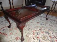 Mint mahogany table with removable glass trays framed
