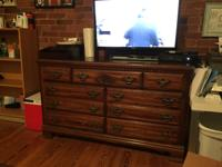 Authentic Lea Furniture 7 drawer cherry wood dresser