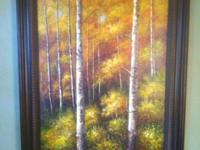 Lovely oil on canvas framed in a conventional dark