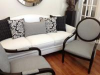 White fabric sofa bought at Haverty's with two fabric