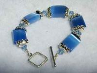 Beautiful Blue Stone & Crystal Bracelet HandCrafted