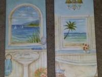 I have 2 charming CANVAS restroom art embellishments