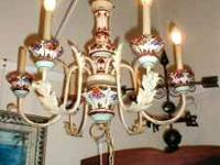 This chandelier is beautiful with colors of