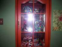 Beautiful Cherry curio with 2 lights. Includes