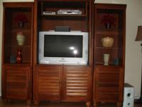 Beautiful, 3 piece wall unit Solid Wood. Side units
