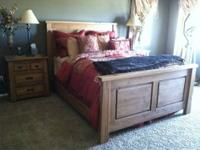 Complete wood bedroom set. Queen size bed frame with
