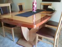 STUNNING ITALIAN CONTEMPORARY DINING TABLE, HUTCH, 6