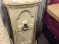 Cream tinted vintage cabinet and mirror. Shabby trendy,