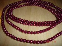 Gorgeous Created Cranberry Red Pink Pearls Necklace.