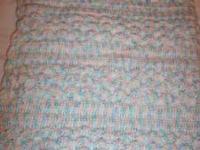 "Very pretty Hand Crocheted Baby Blanket. 36"" X 48""."