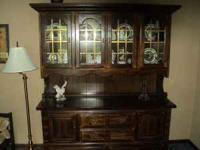 Gorgeous dark, solid wood hutch for sale. Dimensions
