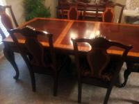 Stunning Dining Set-Table, Chairs & Buffet with China