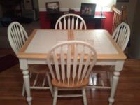 We are selling this beautiful matching white dining