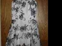 BEAUTIFUL BLACK AND WHITE SWIRL DESIGN DRESS, SPAGHETTI