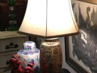 Lovely Embellished Brass Lamps - Nice Shades. $225