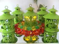 selling fancy table top metal lime green candle lantern