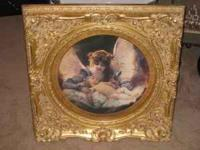 "Beautiful 26'x26"" gold framed picture of an angel with"