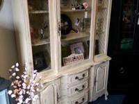 Stunning Distressed French Provincial China Hutch!