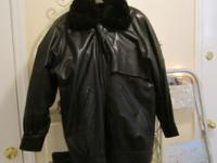 Great Black Leather jacket size small.. Great fur