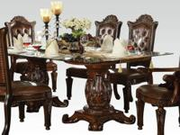 BEAUTIFUL GLASS TOP FORMAL 7 PC DINING TABLE
