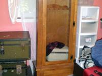 Description Wood gun cabinet with glass door for