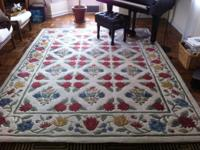 8' x 10.6' area rug -- hand loomed -- 100% wool -- made