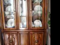 "Beautiful 47"" wide lighted hutch with storage"