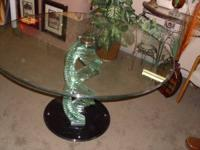 Italian design stacked glass table 50 inches round and