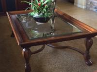 Gorgeous cherry and beveled-glass coffee table -