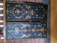 Two beautiful black and gold paintings on wood measures